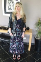 black Faux fur jacket - black printed maxi dress - gladiator wedges shoes - bead