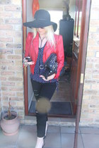 ripped jeans - red leather Lolavie jacket - polka dot blouse - heels