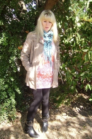 FE jacket - random boutique dress - fundangos scarf - stockings - DIY
