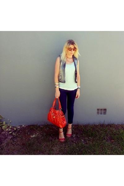 Topshop jeans - Nine West bag - cotton on top - Sissy Boy heels