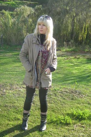 cream jacket - purple cardi - - - lace stockings