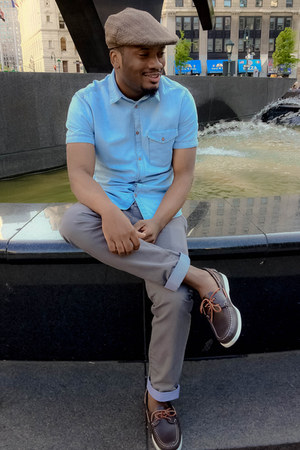 heather gray H&M hat - dark brown Sebago shoes - sky blue H&M shirt
