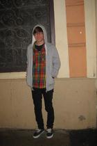 RVCA t-shirt - H&M shirt - H&M sweater - Cheap Monday jeans - Vans shoes