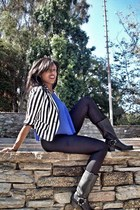 black Frye boots - black American Apparel leggings - blue Forever 21 top