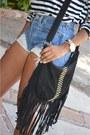 Blue-denim-diy-cutoffs-shorts-black-steve-madden-heels