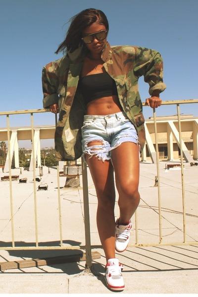 army green thrift jacket - denim DIY shorts