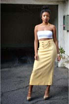 light yellow vintage Gantos skirt - white Stila top - cream Steve Madden heels