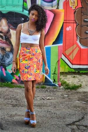 orange Ralph Lauren skirt - white bralette American Apparel top