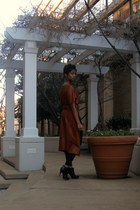 burnt orange soft yanghi cape - black leather American Apparel leggings