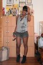Silver-urban-outfitters-shirt-gray-paul-joe-shorts-black-shorts