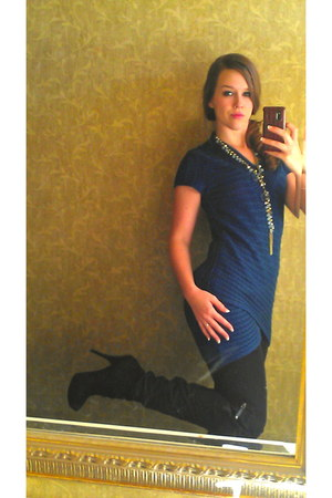 teal Pink Rose dress - black Guess boots - turquoise blue Forever21 necklace