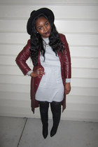 maroon jacket - black boots - heather gray dress