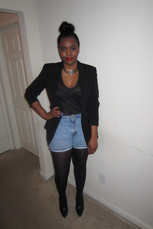 black blazer - periwinkle shorts - ruby red accessories