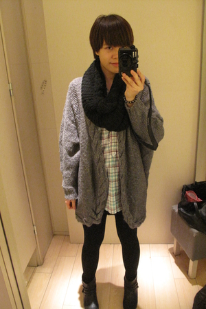 H&M scarf - H&M coat - Zara dress - Newlook boots