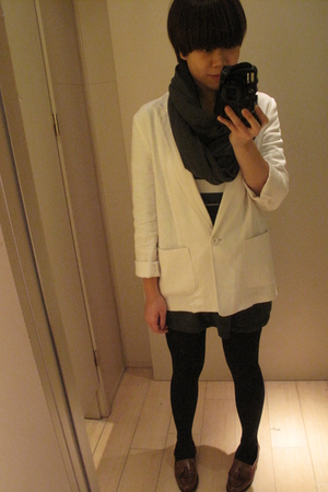 American Apparel scarf - Newlook blazer - American Apparel skirt - thrifted shoe