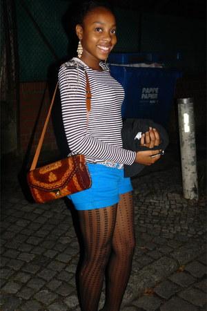 blue denim jeans Mango shorts - white Tally Weijl top