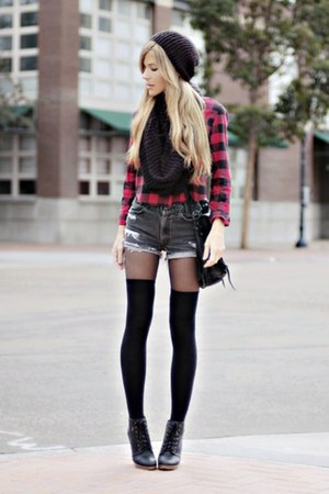 dark gray shorts - black socks - red blouse