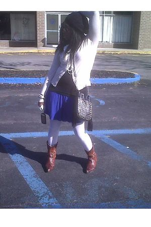blue Forever 21 skirt - brown Nordstrom boots - white George stockings - black b