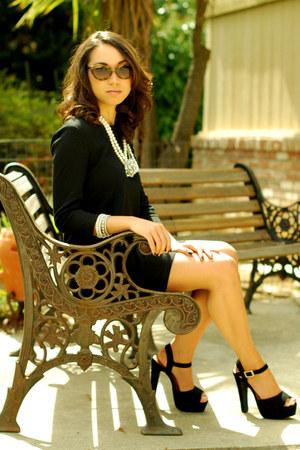 black H&M dress - black Steve Madden heels - white necklace