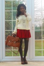 tawny satchel asos bag - tan knee high socks tesco socks - cream cable knit Gap