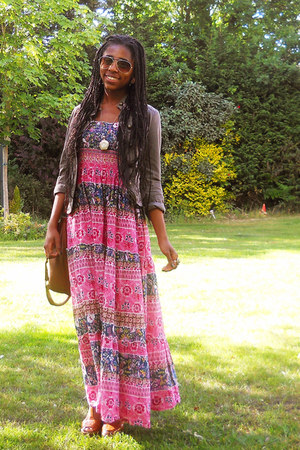 pink maxi Boohoocom dress - tawny satchel new look bag - gold aviator H&M sungla