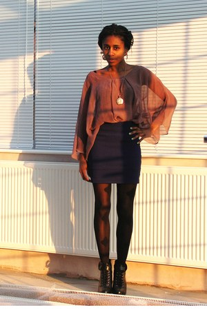 black bandana Henry Holland tights - black lace H&M wedges - maroon chiffon Ebay