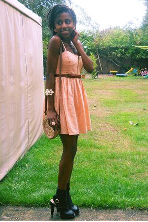 black buckle Ebay shoes - pink broderie Topshop dress - beige straw Primark bag