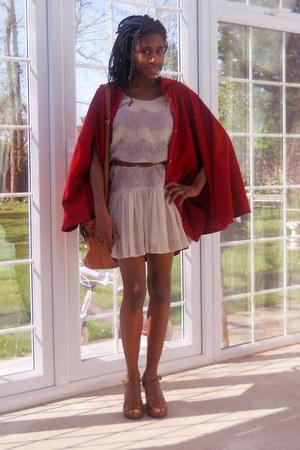 cream flippy Topshop dress - tawny satchel asos bag - tawny wedge asos wedges -