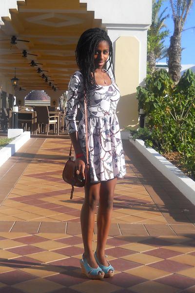 cream Topshop dress - sky blue payless wedges - dark brown vintage bag - light p