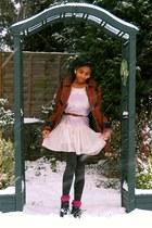 tawny Topshop coat - nude Topshop dress - dark brown tesco tights - maroon Prima