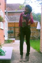 beige tesco boots - black H&M jeans - purple Primark top - red -- scarf - brown