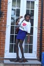 Black-ebay-shoes-blue-topshop-skirt-white-ilroma-t-shirt-red-primark-purse