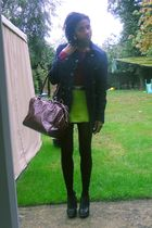 green -- skirt - purple Primark t-shirt - black Ebay shoes - black -- tights - r