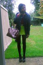 green -- skirt - purple Primark t-shirt - black Ebay shoes - black -- tights - r