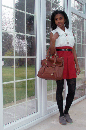 patterned Primark tights - satchel new look bag - brogues M&S flats - blouse vin