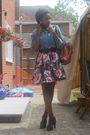 Gray-republic-skirt-blue-tesco-t-shirt-brown-mothers-purse-black-ebay-shoe