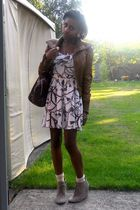 brown new look jacket - beige Topshop dress - beige tesco shoes - pink Primark a