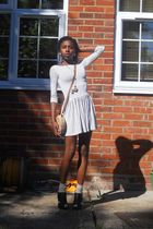 white Topshop dress - black Ebay shoes - beige next socks - gold Topshop and Aso