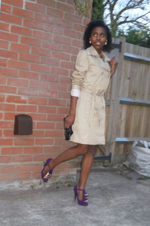 black Velvet dress - beige shop in rome coat - purple Matalan shoes - blue bough