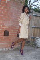 black Velvet dress - beige shop in rome coat - purple Matalan shoes - blue bough