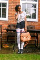 black cut out Ebay shoes - brown satchel -- bag - blue corduroy American Apparel