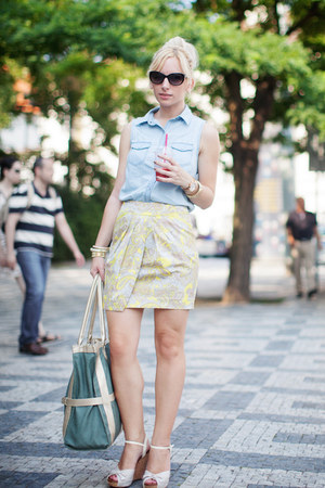 H&M skirt - denim Romwecom shirt - Chanel sunglasses