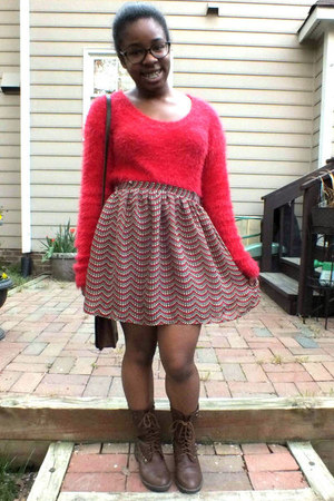 red fuzzy Wet Seal sweater - dark brown combat boots Charlotte Russe boots