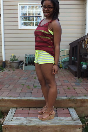 maroon see-though Rue 21 shirt - lime green neon striped Walmart shorts