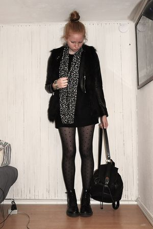 black H&M jacket - black Vila vest - black Secondhand - black H&M tights - black