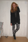 Black-vagabond-boots-black-gina-tricot-cardigan-black-h-m-dress-black-monk