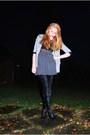 Gray-topshop-blazer-black-lindex-top-gray-american-apparel-skirt-silver-h-