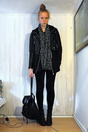 Monki leggings - sbar boots - GINA TRICOT cardigan - GINA TRICOT scarf - H&M jac