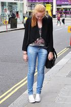 black H&M blazer - gray Topshop top - blue Zara jeans - white Converse shoes - b