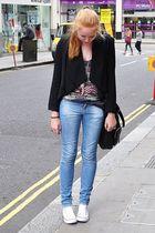 black H&M blazer - gray Topshop top - blue Zara jeans - white Converse shoes - b